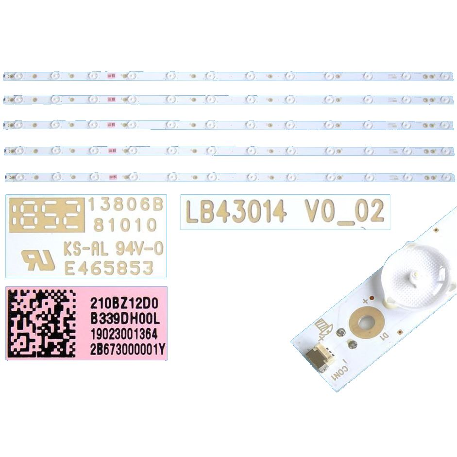 996598006791 LED BAR  210BZ12D0B339DH00L L=843mm , 12 led, kit - 5 strips