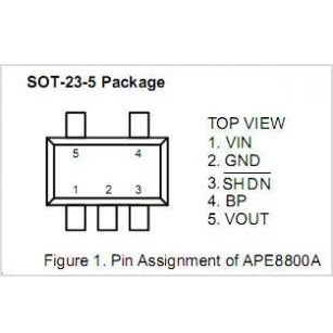APE8800A-25Y5P IC 300mA 2.5V Low Dropout Linear Regulator with Shutdown